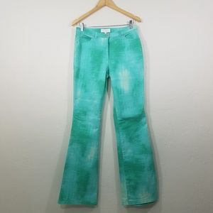 Escada Green Blue White Water Color Stretch Jeans